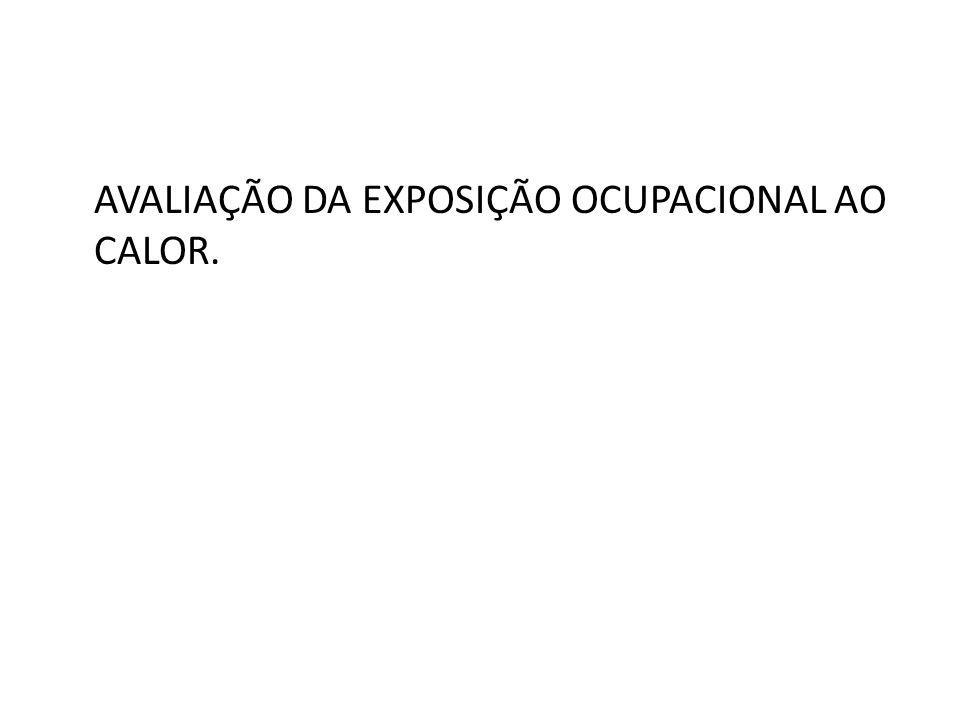 AVALIAÇÃO DA EXPOSIÇÃO OCUPACIONAL AO CALOR.