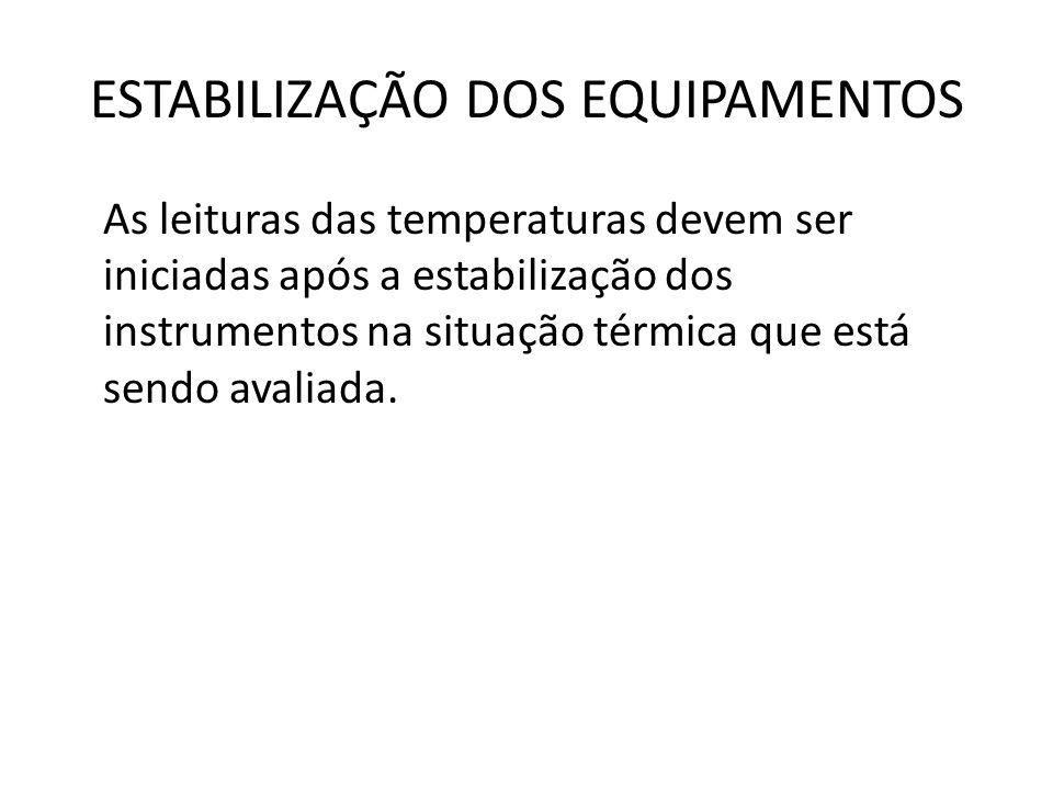 ESTABILIZAÇÃO DOS EQUIPAMENTOS As leituras das temperaturas devem ser iniciadas após a estabilização dos instrumentos na situação térmica que está sen