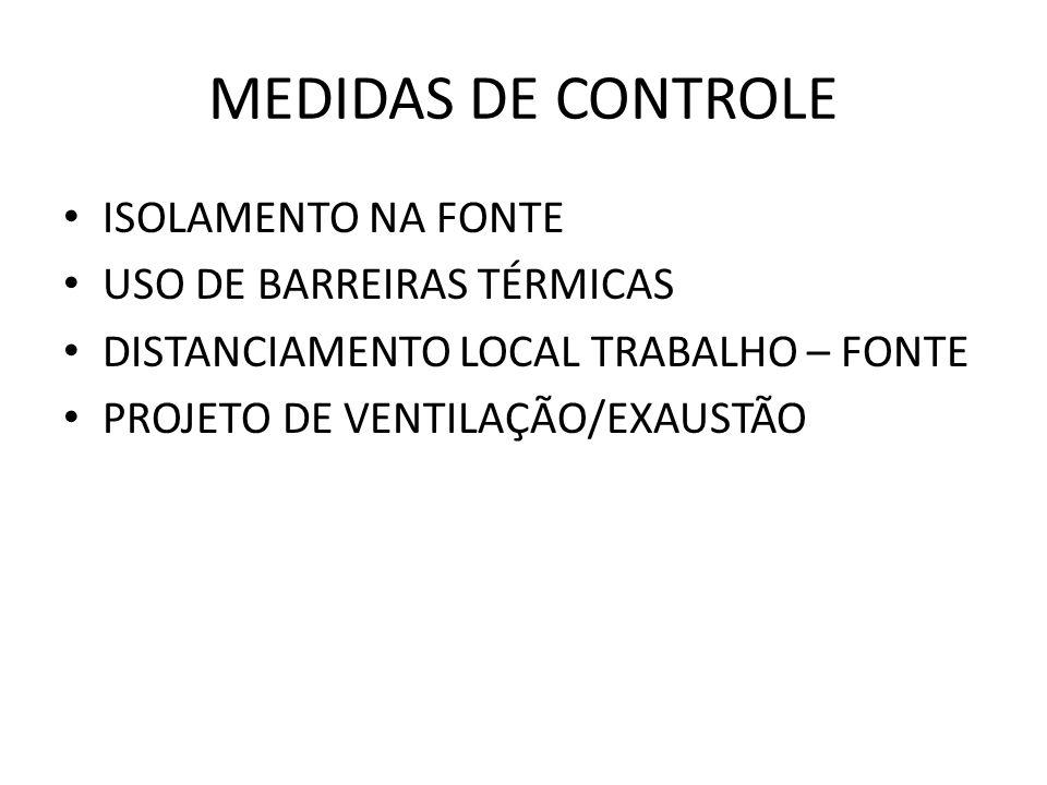 MEDIDAS DE CONTROLE ISOLAMENTO NA FONTE USO DE BARREIRAS TÉRMICAS DISTANCIAMENTO LOCAL TRABALHO – FONTE PROJETO DE VENTILAÇÃO/EXAUSTÃO
