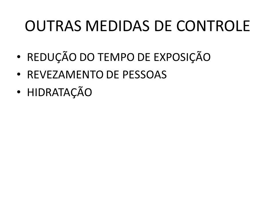 OUTRAS MEDIDAS DE CONTROLE REDUÇÃO DO TEMPO DE EXPOSIÇÃO REVEZAMENTO DE PESSOAS HIDRATAÇÃO