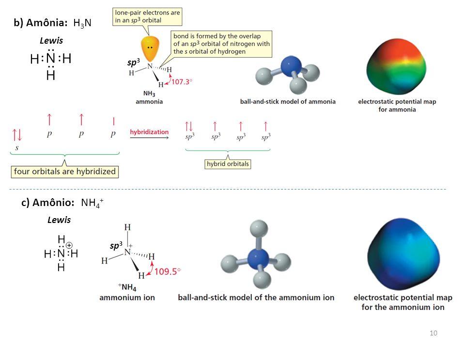10 b) Amônia:H3NH3N Lewis sp 3 c) Amônio:NH 4 + Lewis sp 3