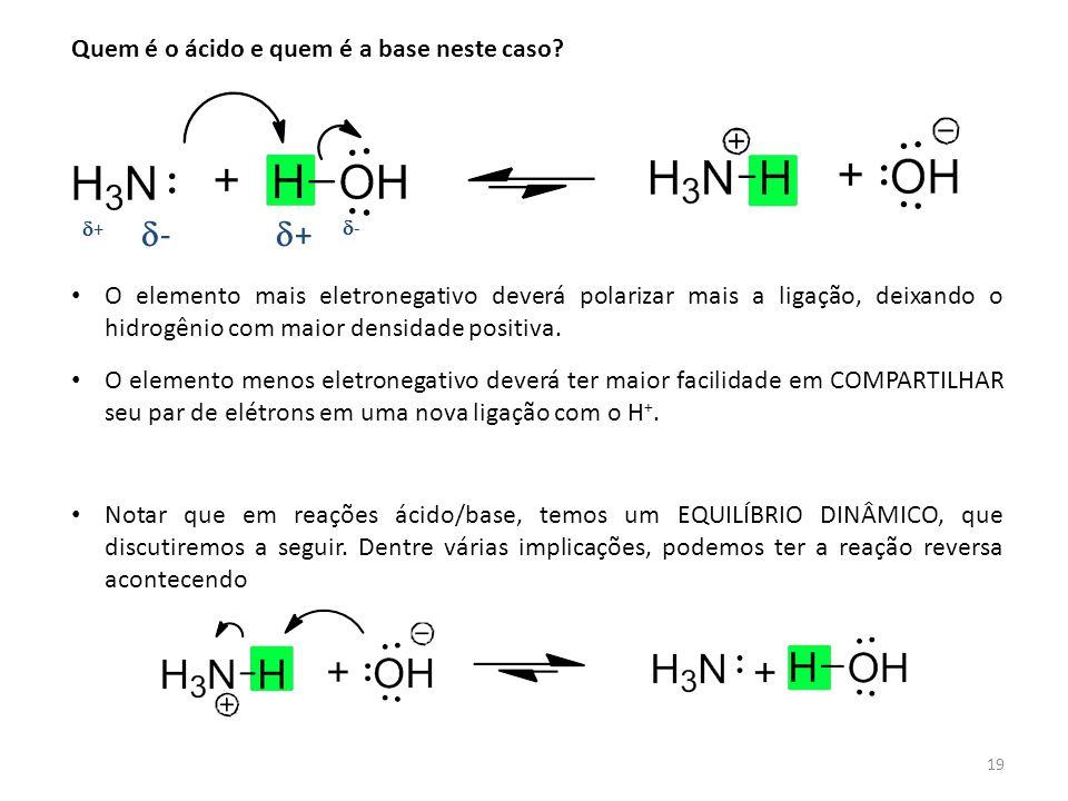 19 Quem é o ácido e quem é a base neste caso? ++ -- ++ -- O elemento mais eletronegativo deverá polarizar mais a ligação, deixando o hidrogêni