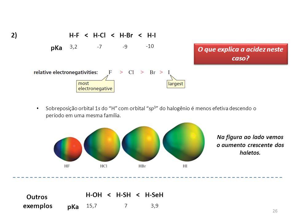 """26 2)H-F < H-Cl < H-Br < H-I pKa 15,773,9 -10 H-OH < H-SH < H-SeH pKa 3,2-7-9 Sobreposição orbital 1s do """"H"""" com orbital """"sp 3 """" do halogênio é menos"""