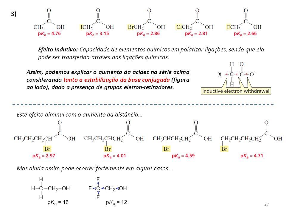 27 3) Efeito Indutivo: Capacidade de elementos químicos em polarizar ligações, sendo que ela pode ser transferida através das ligações químicas. Assim
