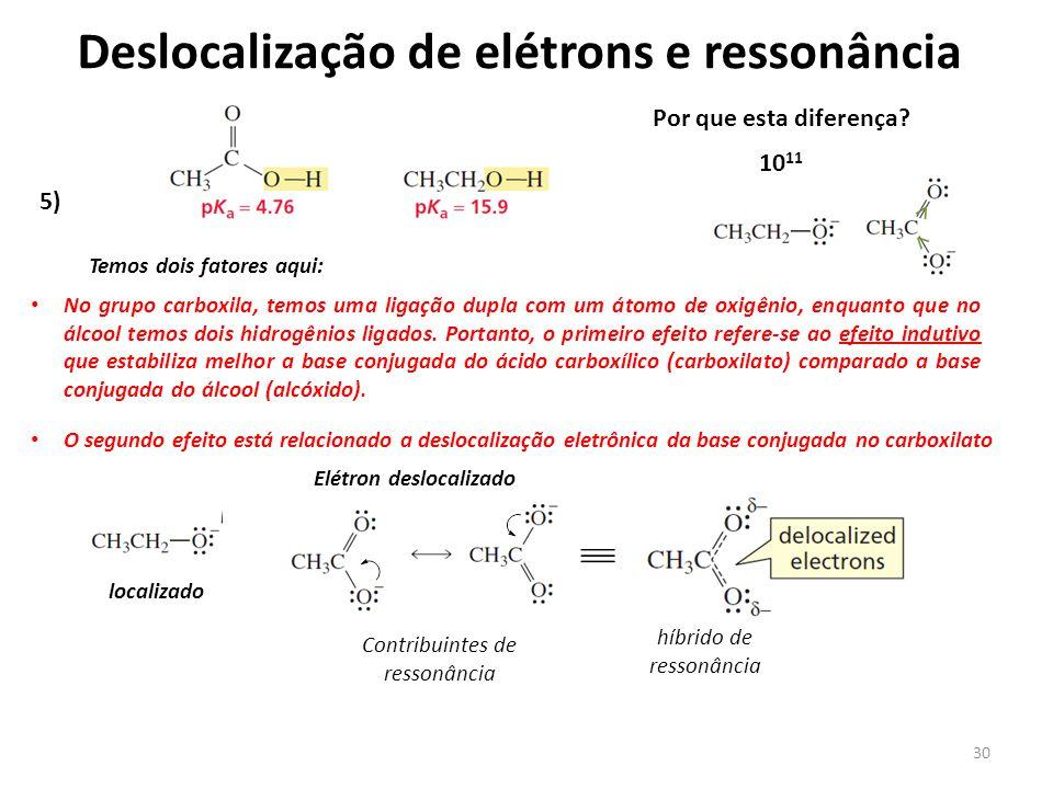 30 Deslocalização de elétrons e ressonância 5) Temos dois fatores aqui: Por que esta diferença? 10 11 No grupo carboxila, temos uma ligação dupla com