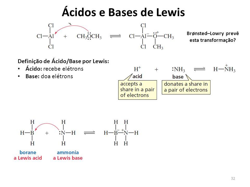 32 Ácidos e Bases de Lewis Definição de Ácido/Base por Lewis: Ácido: recebe elétrons Base: doa elétrons Brønsted–Lowry prevê esta transformação?
