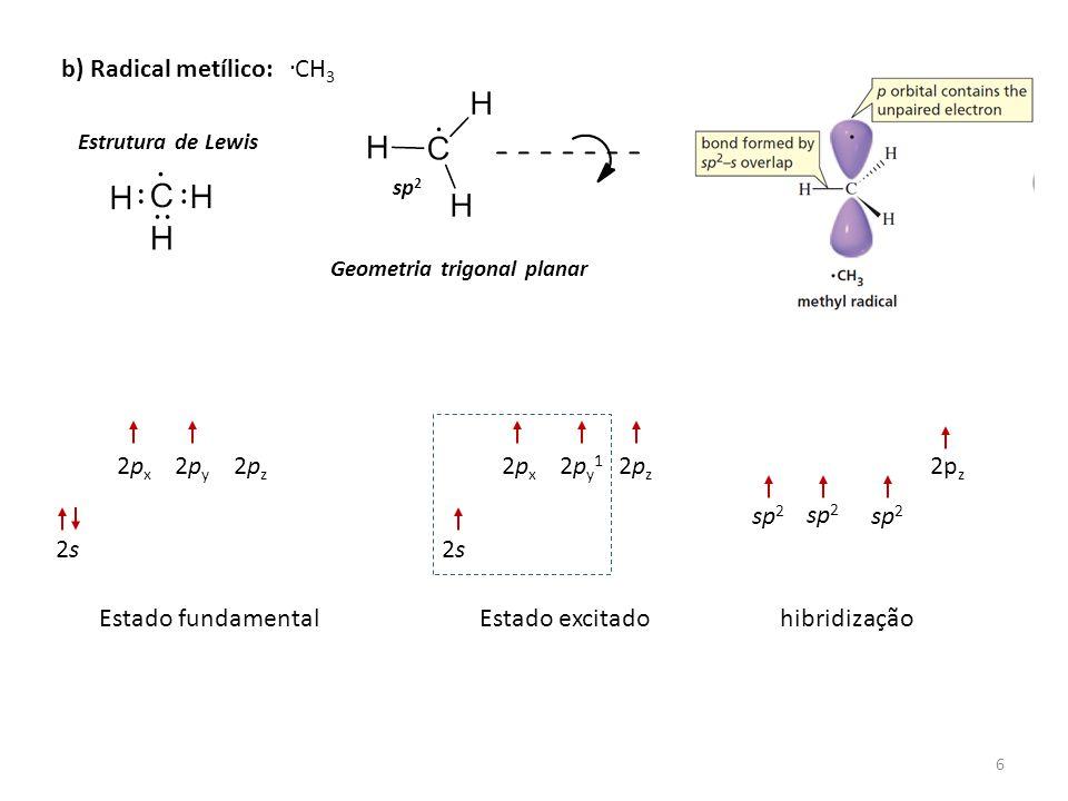 6 b) Radical metílico: Estrutura de Lewis CH 3 Geometria trigonal planar sp 2 2s2s 2px2px 2py2py 2pz2pz Estado fundamentalEstado excitadohibridização