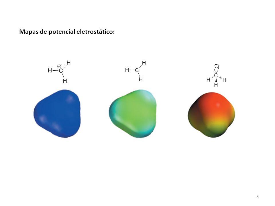 9 Geometria e hibridização de outras moléculas a) Água:H2OH2O Lewis TLV Geometria linear ang.