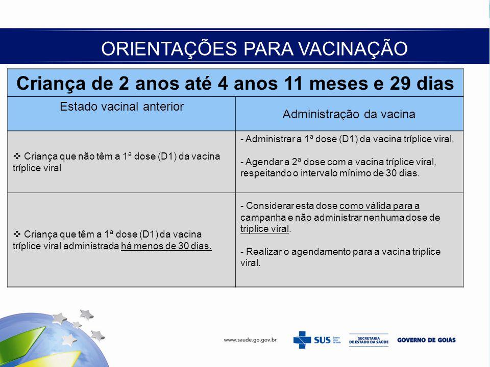 Criança de 2 anos até 4 anos 11 meses e 29 dias Estado vacinal anterior Administração da vacina  Criança que não têm a 1ª dose (D1) da vacina tríplic