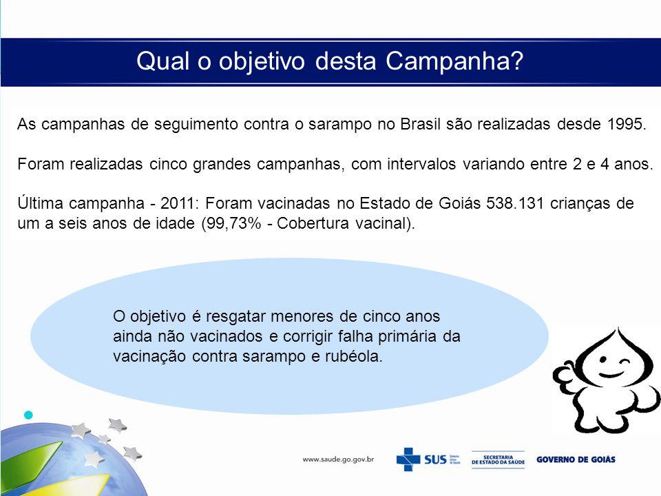 Qual o objetivo desta Campanha? As campanhas de seguimento contra o sarampo no Brasil são realizadas desde 1995. Foram realizadas cinco grandes campan