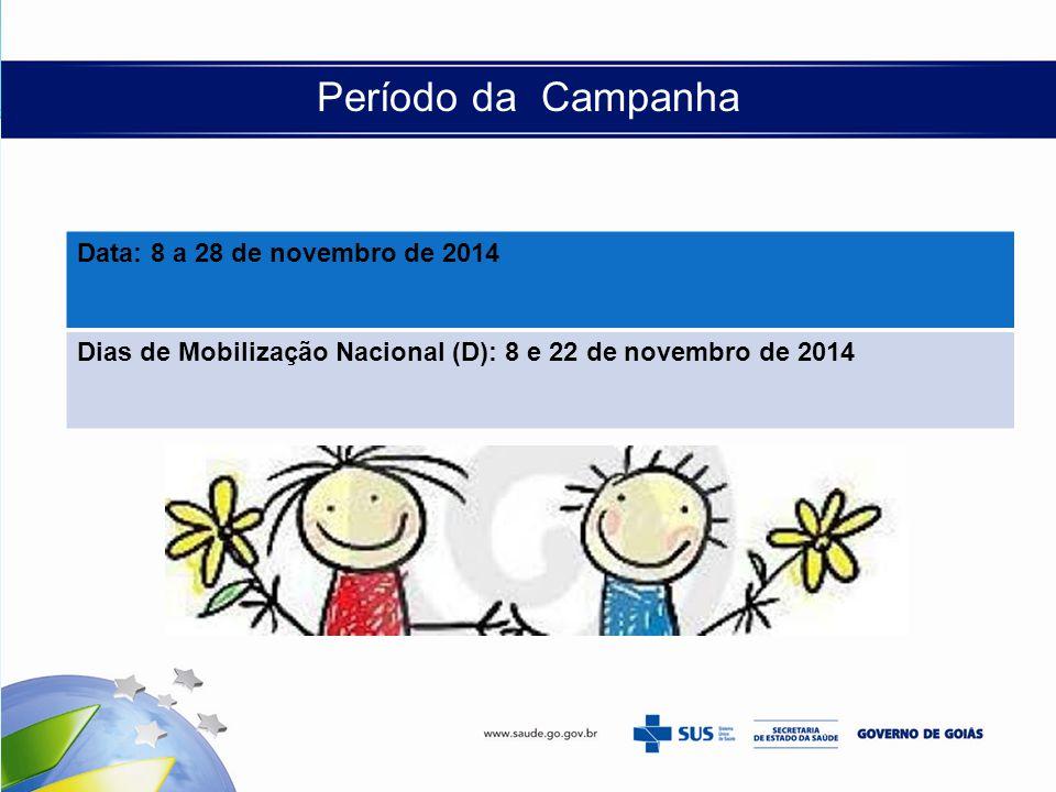 Período da Campanha Data: 8 a 28 de novembro de 2014 Dias de Mobilização Nacional (D): 8 e 22 de novembro de 2014
