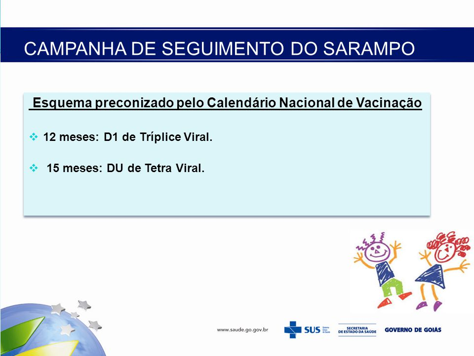 CAMPANHA DE SEGUIMENTO DO SARAMPO Esquema preconizado pelo Calendário Nacional de Vacinação  12 meses: D1 de Tríplice Viral.  15 meses: DU de Tetra