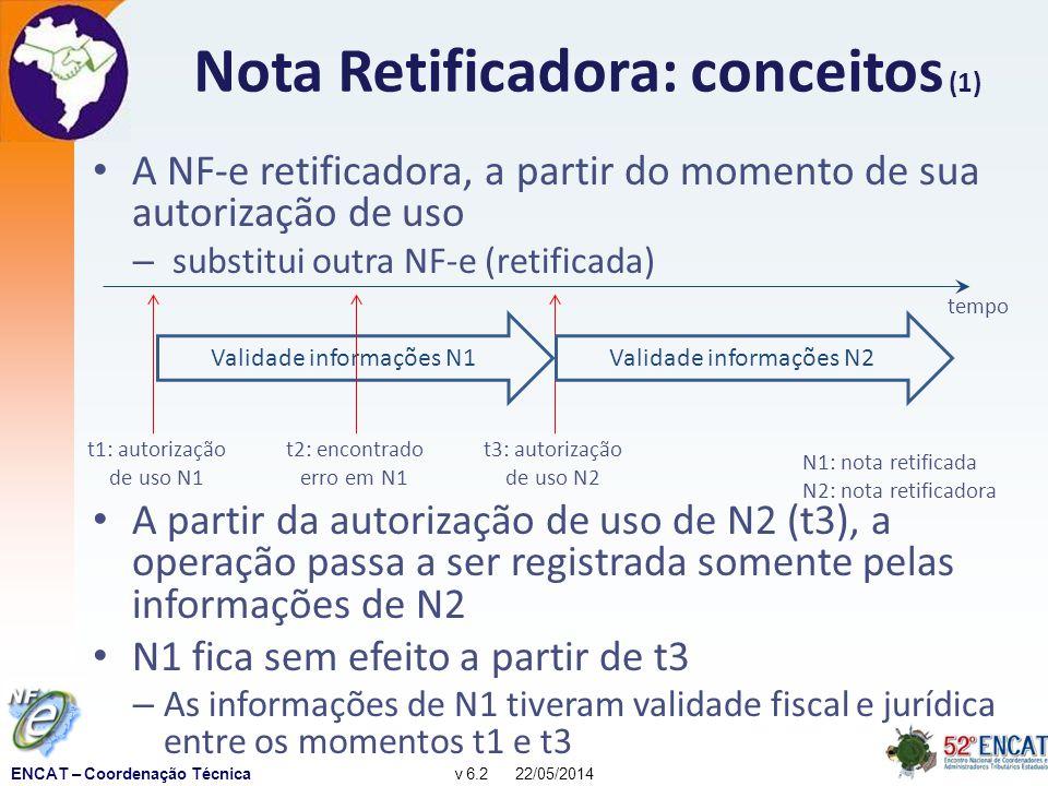ENCAT – Coordenação Técnicav 6.2 22/05/2014 Nota Retificadora: conceitos (1) A NF-e retificadora, a partir do momento de sua autorização de uso – substitui outra NF-e (retificada) A partir da autorização de uso de N2 (t3), a operação passa a ser registrada somente pelas informações de N2 N1 fica sem efeito a partir de t3 – As informações de N1 tiveram validade fiscal e jurídica entre os momentos t1 e t3 tempo N1: nota retificada N2: nota retificadora t1: autorização de uso N1 t3: autorização de uso N2 Validade informações N1Validade informações N2 t2: encontrado erro em N1
