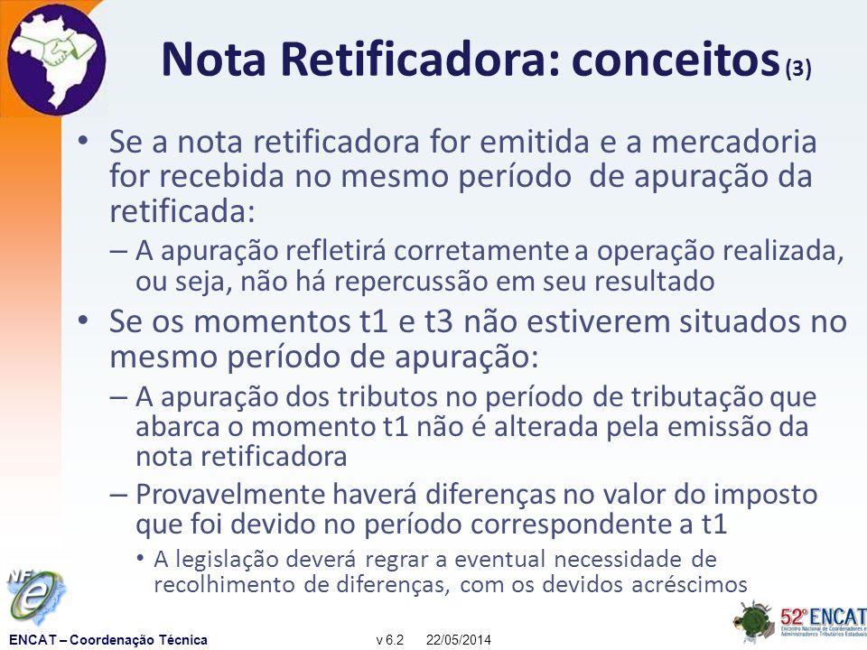 ENCAT – Coordenação Técnicav 6.2 22/05/2014 Nota Retificadora: conceitos (3) Se a nota retificadora for emitida e a mercadoria for recebida no mesmo período de apuração da retificada: – A apuração refletirá corretamente a operação realizada, ou seja, não há repercussão em seu resultado Se os momentos t1 e t3 não estiverem situados no mesmo período de apuração: – A apuração dos tributos no período de tributação que abarca o momento t1 não é alterada pela emissão da nota retificadora – Provavelmente haverá diferenças no valor do imposto que foi devido no período correspondente a t1 A legislação deverá regrar a eventual necessidade de recolhimento de diferenças, com os devidos acréscimos