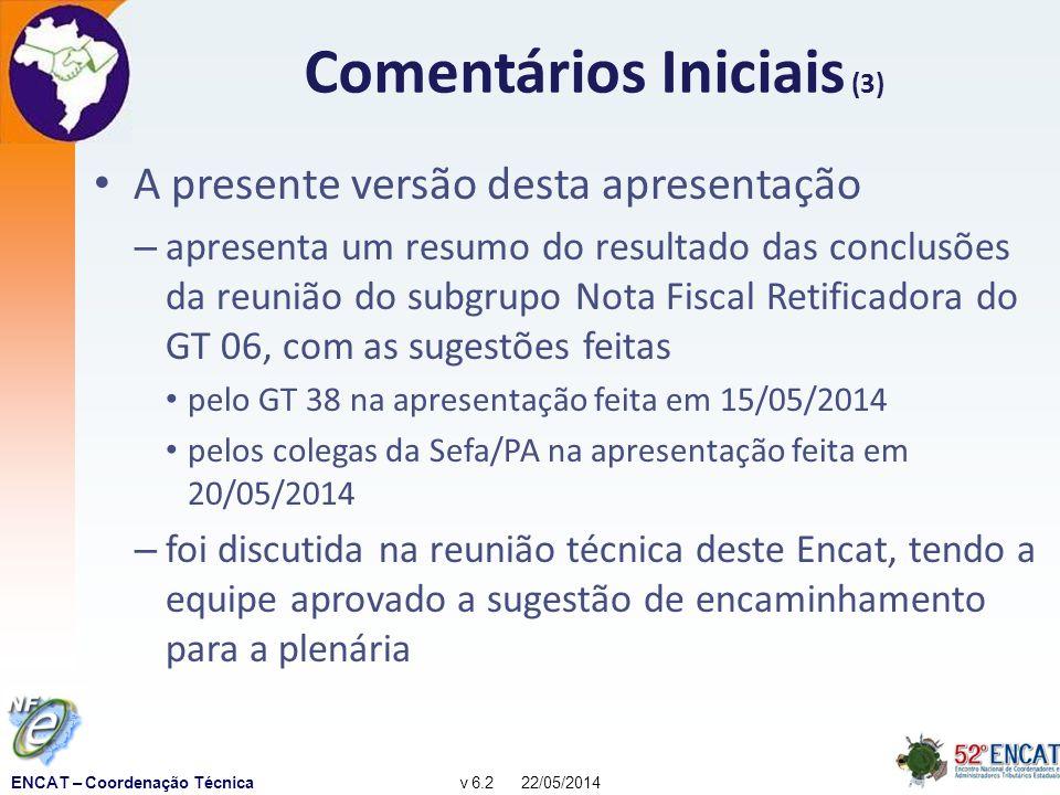 ENCAT – Coordenação Técnicav 6.2 22/05/2014 Histórico de versões 1.0: ENCAT RN (12/03/2012) – 1.1: incorpora sugestões do ENCAT RN 2.0: Equipe técnica NF-e (31/05;2012) – 2.1: incorpora sugestões da equipe técnica 2.5: ENCAT CE (11/06/2012) 2.6: ENCAT MA (15/08/2012) 3.0: GT 06 (27/05/2013) 3.1: RFB, supervisores do SPED (BH 28/02/2013) 3.2: ENCAT AP (04/06/2013) 4.0: SubGT NF-e Retificadora (31/07/2013) 5.0: SubGT NF-e Retificadora (17/10/2013) 5.1: GT 06 (08/11/2013) e GT 38 (14/04/2014) 6.0: SEFA PA (20/05/2014) 6.1: Reunião Técnica Encat PA (21/05/2014)