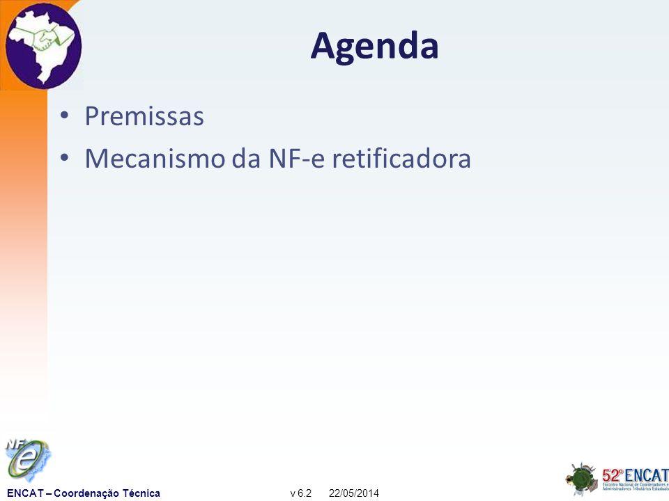 ENCAT – Coordenação Técnicav 6.2 22/05/2014 Premissas (1) A discussão contempla apenas a NF-e modelo 55 – A ampliação do conceito para outros documentos fiscais, como o CT-e ou a NF-e modelo 65, não é objeto da presente discussão Fisco (origem, destino e RFB), destinatário e outros intervenientes na operação (Suframa, por exemplo) devem receber automaticamente todas as informações relativas à correção – O registro de correções em uma NF-e é realizado por outra NF-e – A NF-e retificadora será objeto de regular escrituração fiscal e contábil