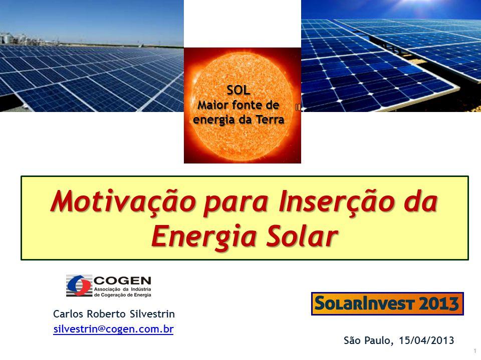 1 Motivação para Inserção da Energia Solar São Paulo, 15/04/2013 Carlos Roberto Silvestrin silvestrin@cogen.com.br SOL Maior fonte de energia da Terra