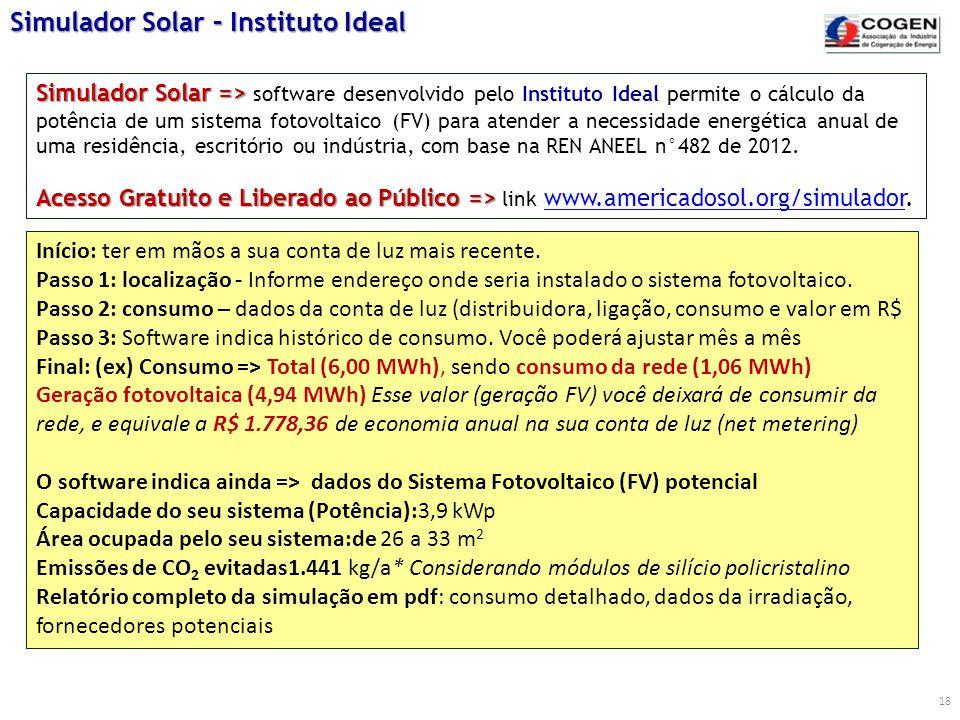 18 Simulador Solar => Acesso Gratuito e Liberado ao Público => Simulador Solar => software desenvolvido pelo Instituto Ideal permite o cálculo da potê