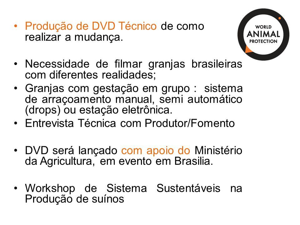 Produção de DVD Técnico de como realizar a mudança. Necessidade de filmar granjas brasileiras com diferentes realidades; Granjas com gestação em grupo