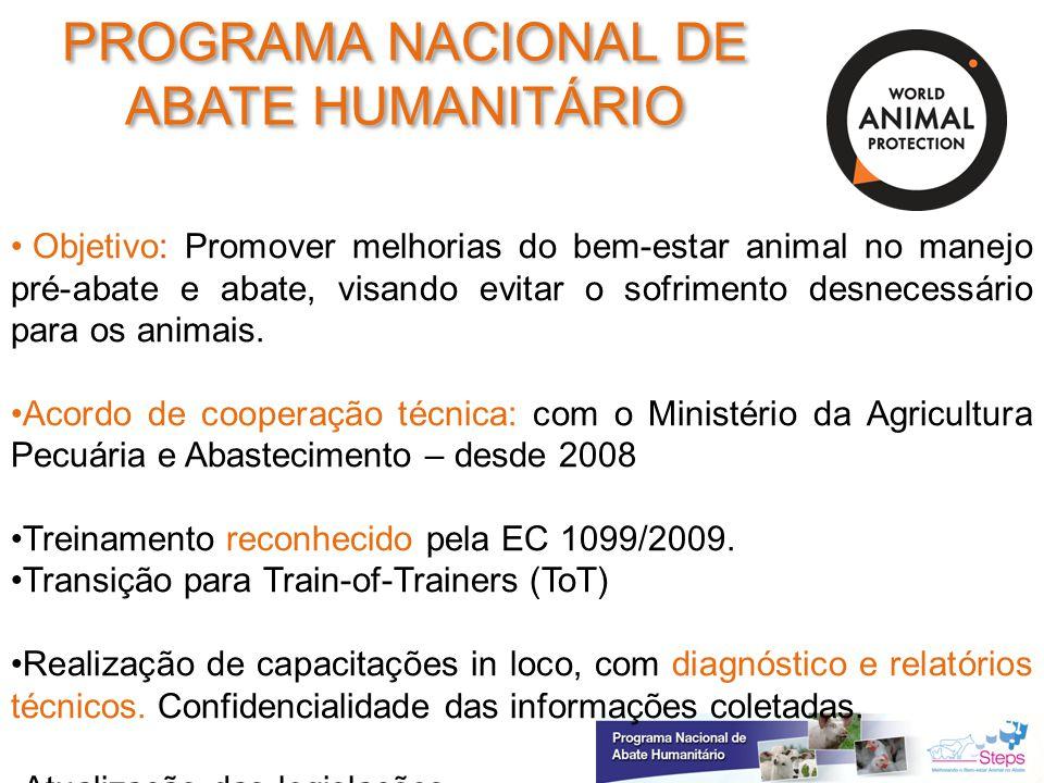 Objetivo: Promover melhorias do bem-estar animal no manejo pré-abate e abate, visando evitar o sofrimento desnecessário para os animais. Acordo de coo