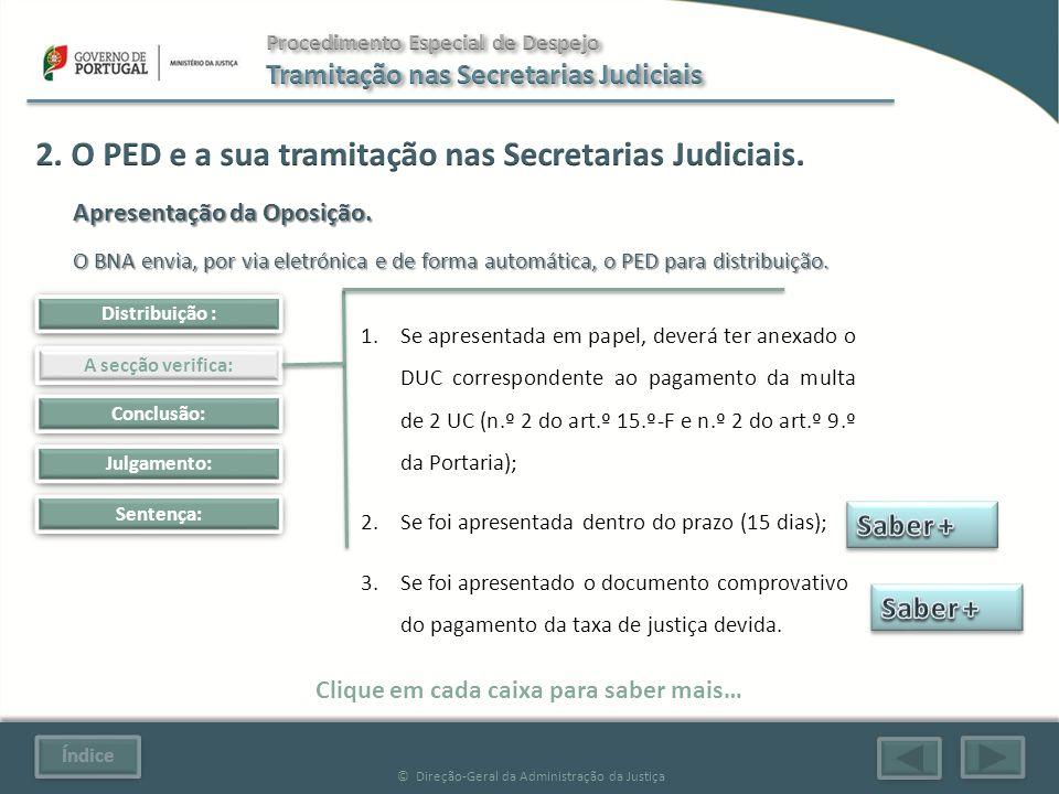Índice © Direção-Geral da Administração da Justiça Julgamento: Sentença: Clique em cada caixa para saber mais… Distribuição : A secção verifica: Conclusão: 1.Se apresentada em papel, deverá ter anexado o DUC correspondente ao pagamento da multa de 2 UC (n.º 2 do art.º 15.º-F e n.º 2 do art.º 9.º da Portaria); 2.Se foi apresentada dentro do prazo (15 dias); 3.Se foi apresentado o documento comprovativo do pagamento da taxa de justiça devida.