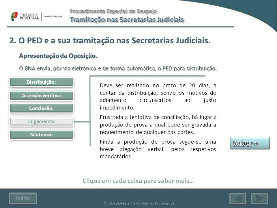 Índice © Direção-Geral da Administração da Justiça Julgamento: Sentença: Clique em cada caixa para saber mais… Distribuição : A secção verifica: Conclusão: Apresentação da Oposição.