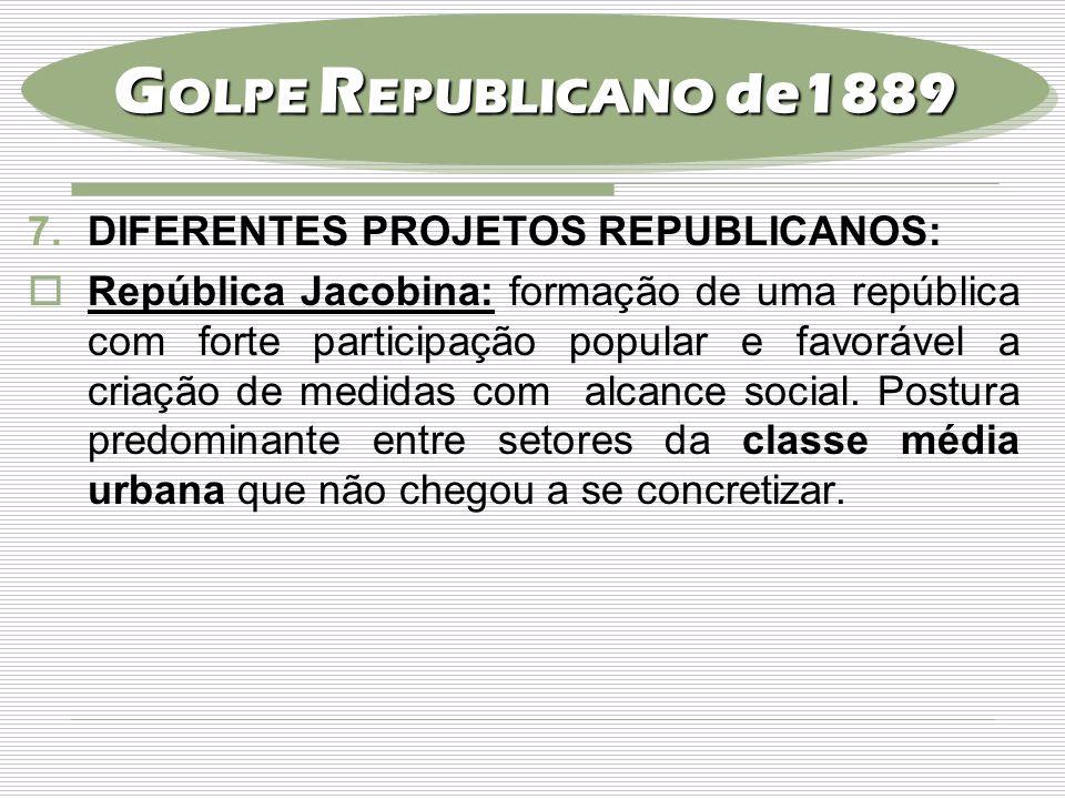 7.DIFERENTES PROJETOS REPUBLICANOS:  República Jacobina: formação de uma república com forte participação popular e favorável a criação de medidas co