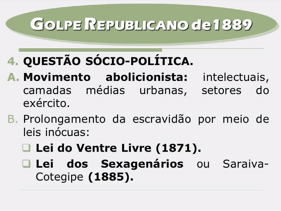 4.QUESTÃO SÓCIO-POLÍTICA. A.Movimento abolicionista: intelectuais, camadas médias urbanas, setores do exército. B.Prolongamento da escravidão por meio