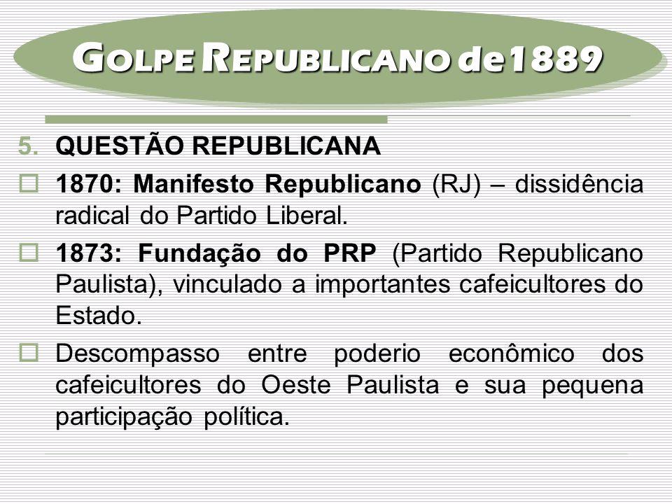 5.QUESTÃO REPUBLICANA  1870: Manifesto Republicano (RJ) – dissidência radical do Partido Liberal.  1873: Fundação do PRP (Partido Republicano Paulis
