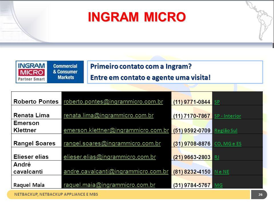 NETBACKUP, NETBACKUP APPLIANCE E MBS 26 INGRAM MICRO Roberto Pontesroberto.pontes@ingrammicro.com.br (11) 9771-0844 SP Renata Limarenata.lima@ingrammi