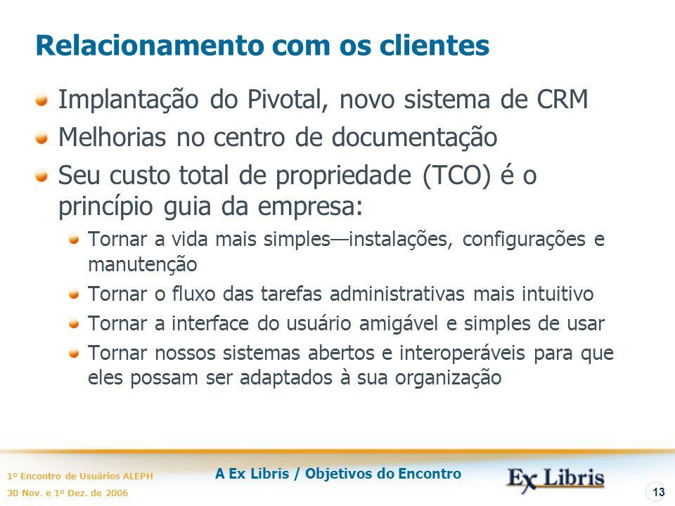 A Ex Libris / Objetivos do Encontro 1º Encontro de Usuários ALEPH 30 Nov. e 1º Dez. de 2006 13 Relacionamento com os clientes Implantação do Pivotal,
