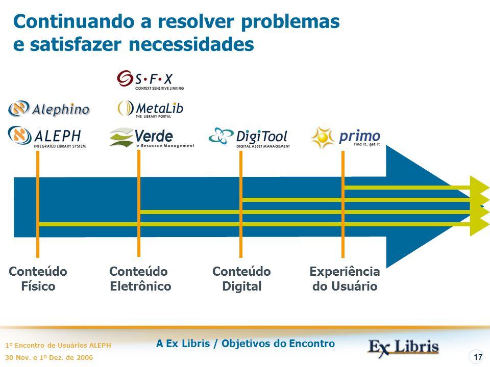 A Ex Libris / Objetivos do Encontro 1º Encontro de Usuários ALEPH 30 Nov. e 1º Dez. de 2006 17 Continuando a resolver problemas e satisfazer necessida