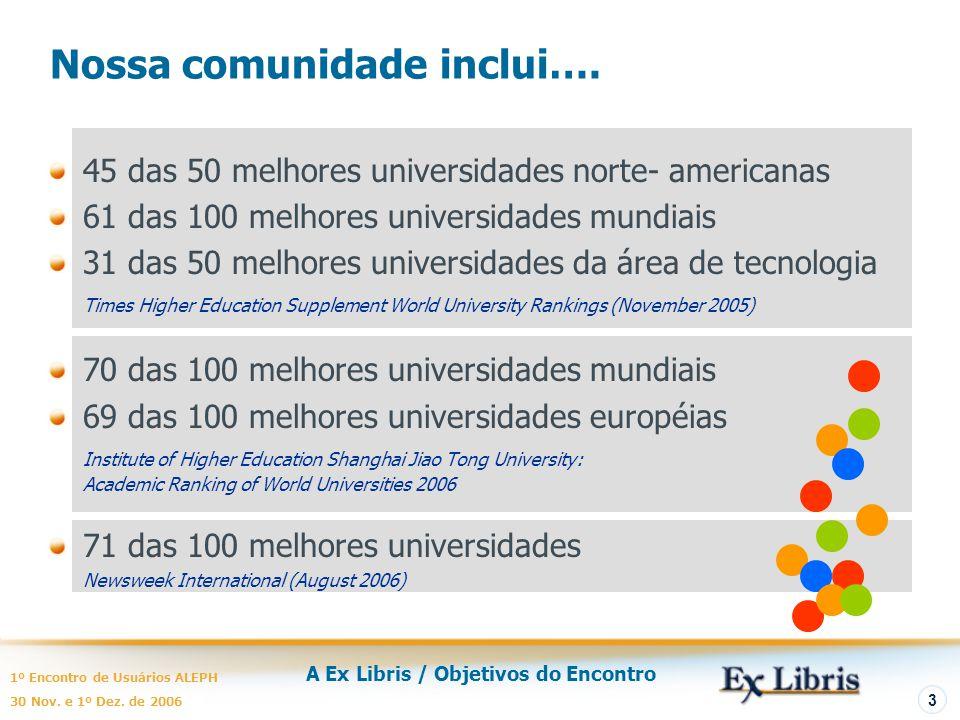 A Ex Libris / Objetivos do Encontro 1º Encontro de Usuários ALEPH 30 Nov. e 1º Dez. de 2006 3 Nossa comunidade inclui…. 45 das 50 melhores universidad