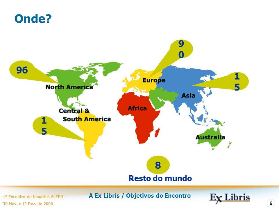 A Ex Libris / Objetivos do Encontro 1º Encontro de Usuários ALEPH 30 Nov. e 1º Dez. de 2006 6 Onde? 1515 96 1515 8 9090 Resto do mundo