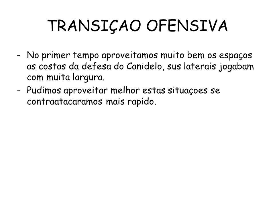 TRANSIÇAO OFENSIVA -No primer tempo aproveitamos muito bem os espaços as costas da defesa do Canidelo, sus laterais jogabam com muita largura.