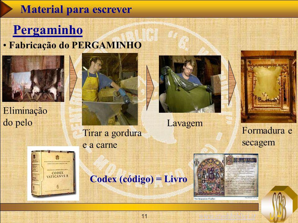 www.studibiblici.it 11 Pergaminho Fabricação do PERGAMINHO Eliminação do pelo Tirar a gordura e a carne Lavagem Formadura e secagem Codex (código) = Livro Material para escrever