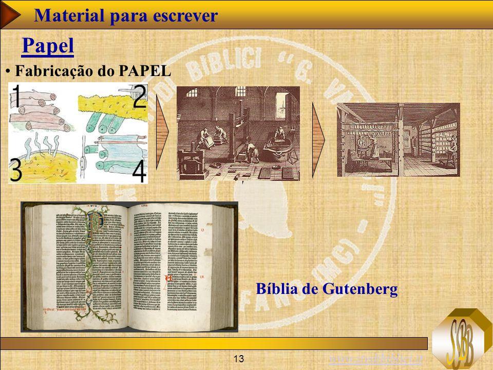 www.studibiblici.it 13 Papel Fabricação do PAPEL Bíblia de Gutenberg Material para escrever