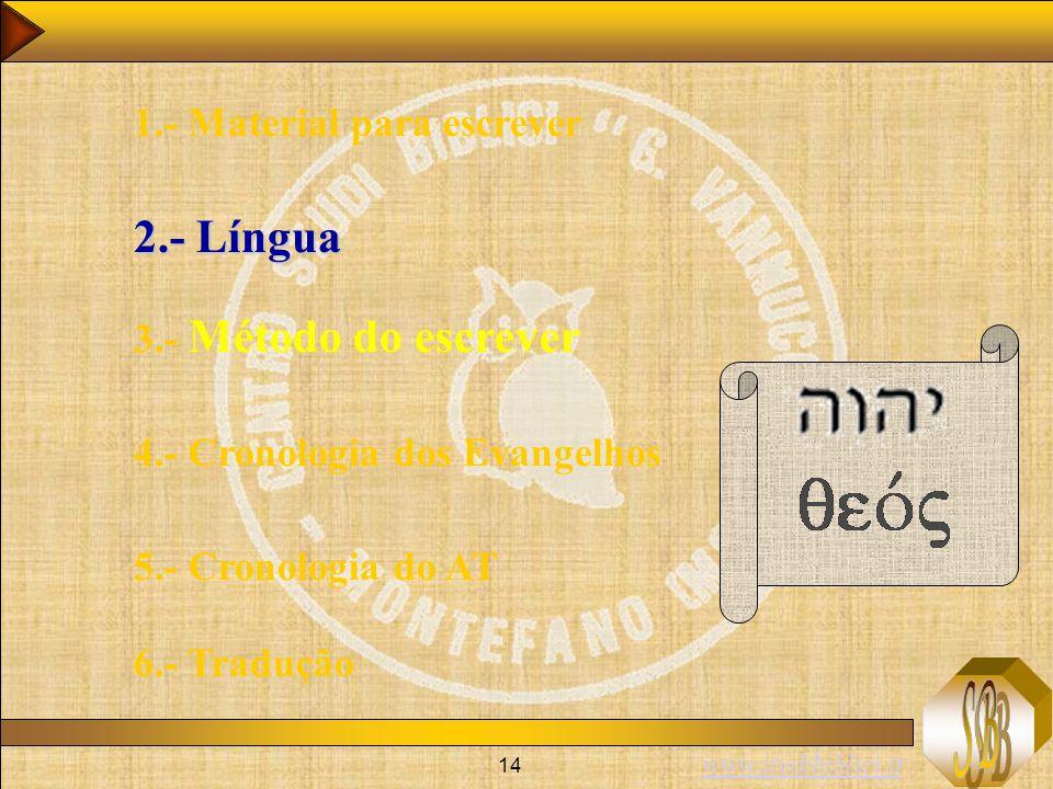 www.studibiblici.it 14 1.- Material para escrever 2.- Língua 3.- Método do escrever 4.- Cronologia dos Evangelhos 5.- Cronologia do AT 6.- Tradução