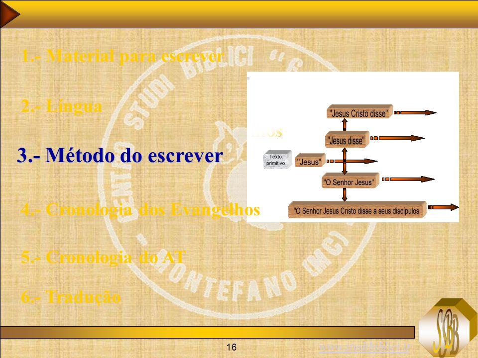 www.studibiblici.it 16 1.- Material para escrever 2.- Língua 3.- Método do escrever 4.- Cronologia dos Evangelhos 5.- Cronologia do AT 6.- Tradução