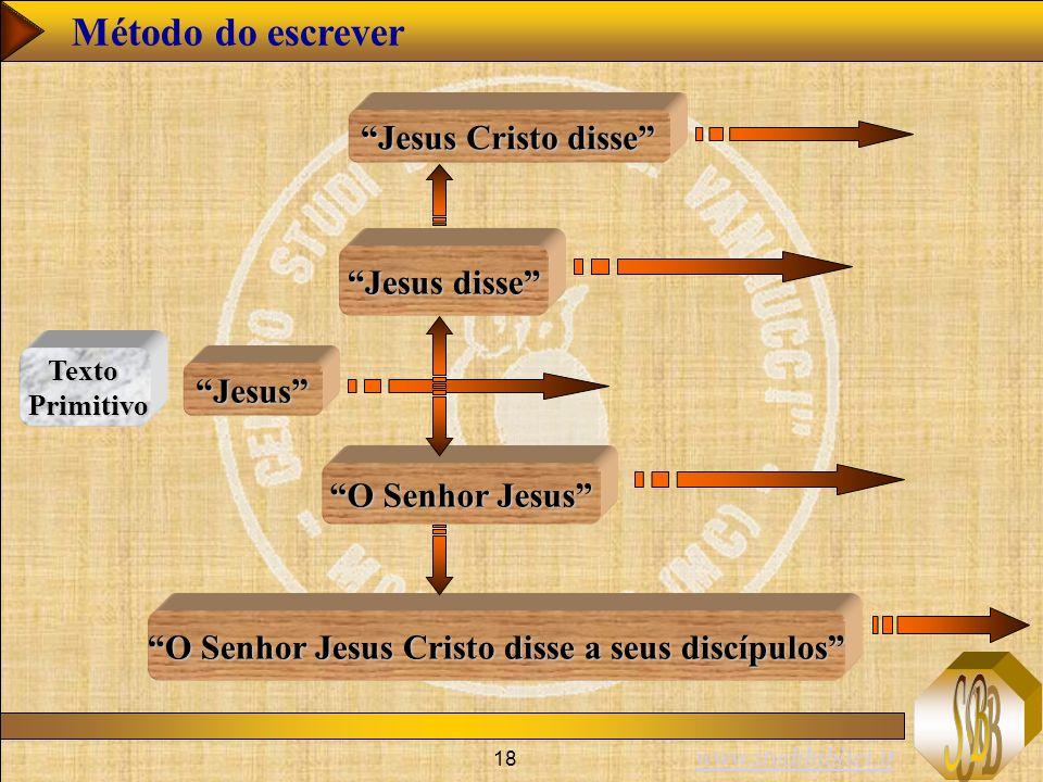 www.studibiblici.it 18 Jesus disse Jesus O Senhor Jesus O Senhor Jesus Cristo disse a seus discípulos Jesus Cristo disse Método do escrever Texto Primitivo Primitivo