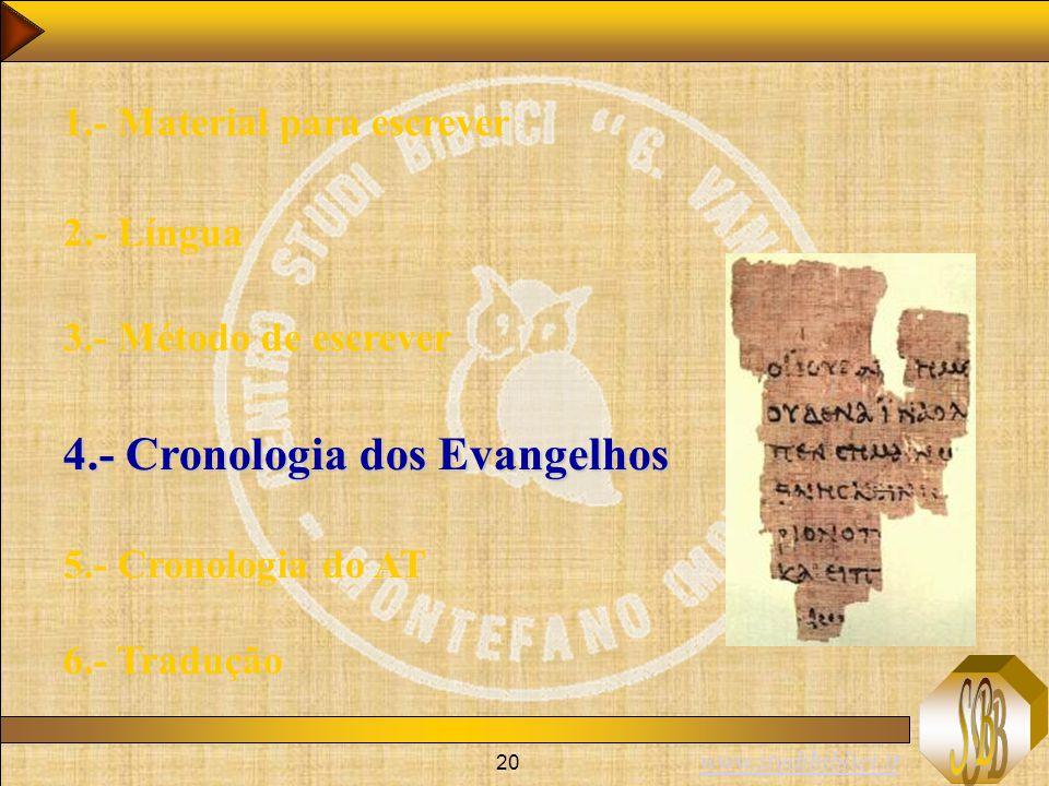 www.studibiblici.it 20 1.- Material para escrever 2.- Língua 3.- Método de escrever 4.- Cronologia dos Evangelhos 5.- Cronologia do AT 6.- Tradução