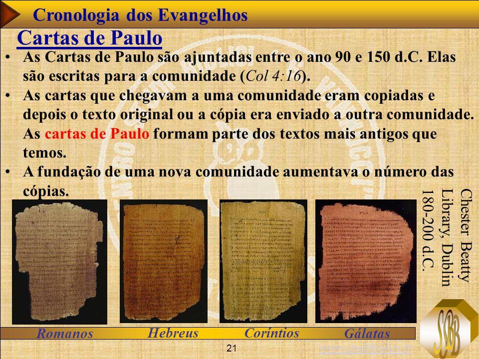 www.studibiblici.it 21 As Cartas de Paulo são ajuntadas entre o ano 90 e 150 d.C. Elas são escritas para a comunidade (Col 4:16). As cartas que chegav