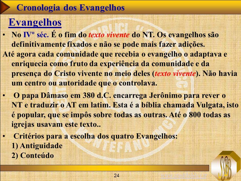 www.studibiblici.it 24 Cronologia dos Evangelhos Evangelhos No IVº séc. É o fim do texto vivente do NT. Os evangelhos são definitivamente fixados e nã