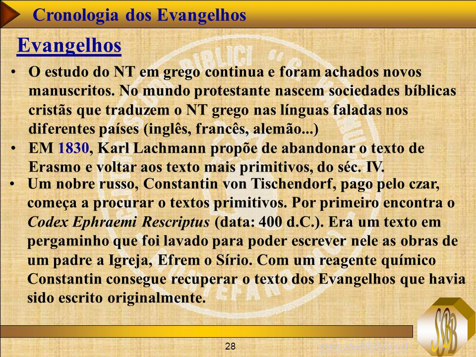 www.studibiblici.it 28 Cronologia dos Evangelhos Evangelhos O estudo do NT em grego continua e foram achados novos manuscritos. No mundo protestante n