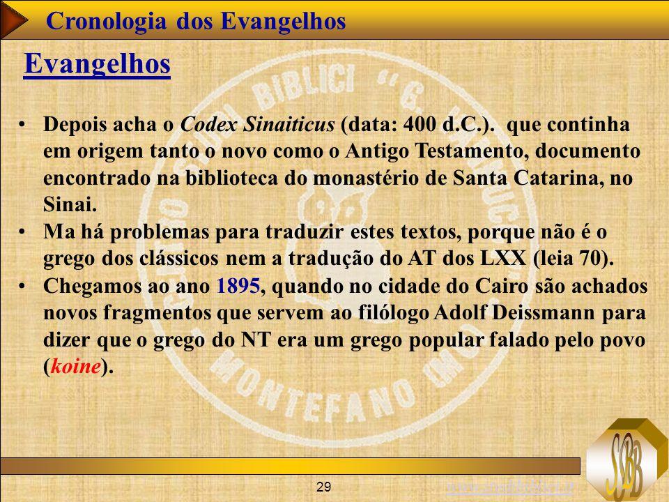 www.studibiblici.it 29 Cronologia dos Evangelhos Evangelhos Depois acha o Codex Sinaiticus (data: 400 d.C.). que continha em origem tanto o novo como