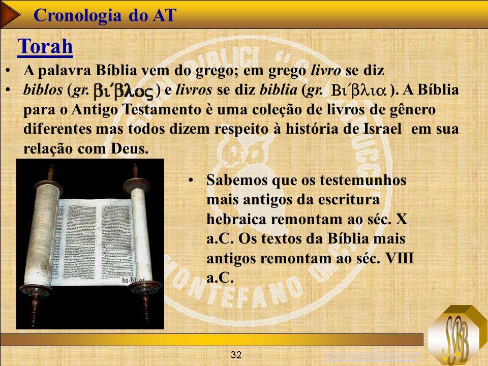 www.studibiblici.it 32 Cronologia do AT Torah A palavra Bíblia vem do grego; em grego livro se diz biblos  gr.  e livros se diz biblia (gr. ). A Bíb