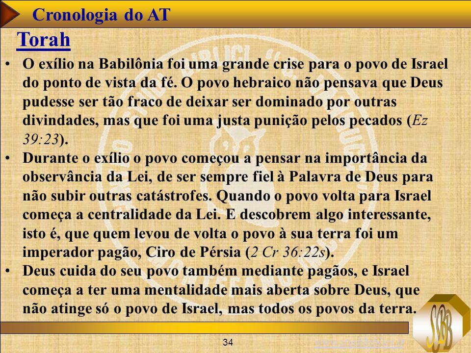 www.studibiblici.it 34 Cronologia do AT Torah O exílio na Babilônia foi uma grande crise para o povo de Israel do ponto de vista da fé.