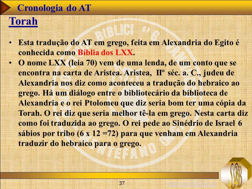www.studibiblici.it 37 Cronologia do AT Torah Esta tradução do AT em grego, feita em Alexandria do Egito é conhecida como Bíblia dos LXX. O nome LXX (