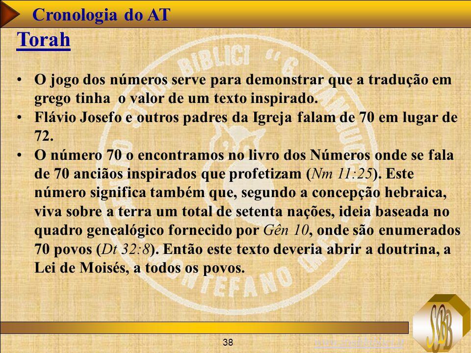 www.studibiblici.it 38 Cronologia do AT Torah O jogo dos números serve para demonstrar que a tradução em grego tinha o valor de um texto inspirado.
