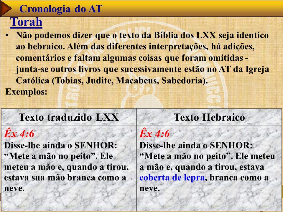 www.studibiblici.it 40 Cronologia do AT Torah Não podemos dizer que o texto da Bíblia dos LXX seja identico ao hebraico. Além das diferentes interpret